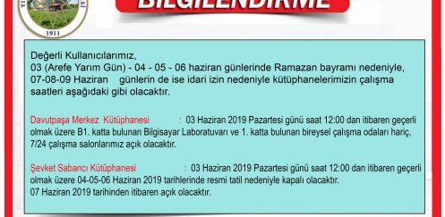 YTÜ Kütüphane Ramazan Bayramı Resmi Tatil Duyurusu